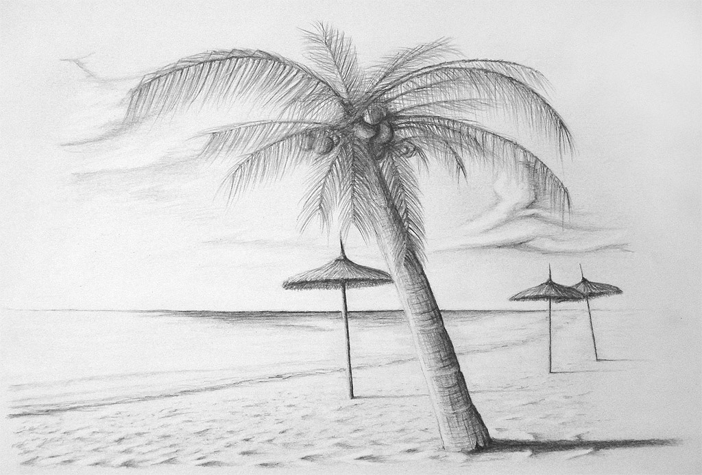 Easy Beach Pencil Drawing | www.imgkid.com - The Image Kid ...